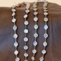 Moonstone & Sterling 36in chain necklace